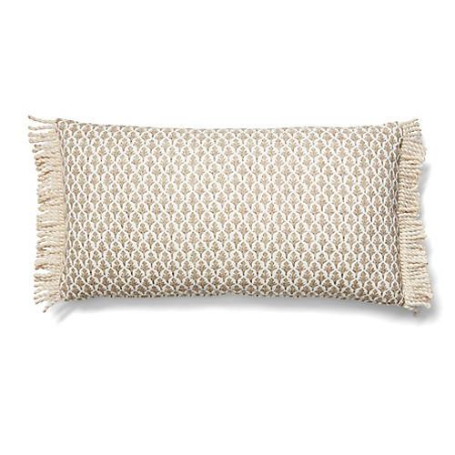 Lila 12x23 Fringe Lumbar Pillow, Beige/White