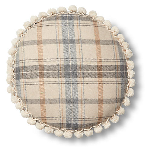 Wyatt 16x16 Disc Pillow, Sky Blue Plaid