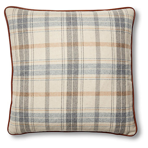 Wyatt 19x19 Pillow, Sky Blue Plaid/Saddle