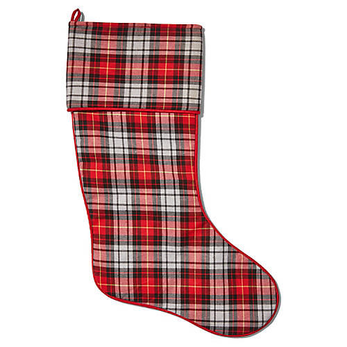 Charles Tartan Stocking, Red/Multi
