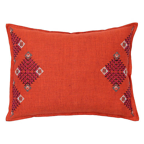 Diamond 12x16 Pillow, Orange Linen