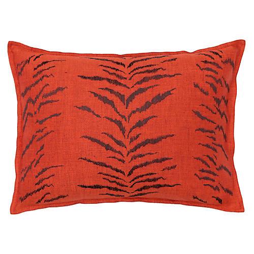 Tiger Stripe 12x16 Pillow, Orange Linen