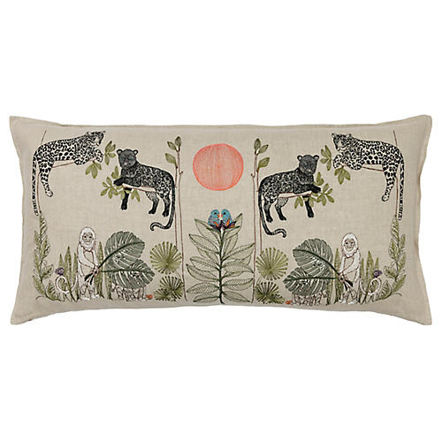Jungle 32x16 Lumbar Pillow, Natural Linen