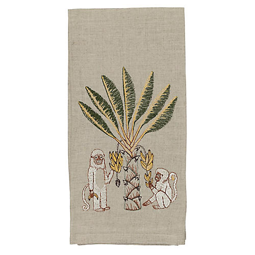 Monkeys with Banana Tree Tea Towel, Natural/Multi