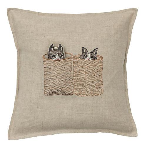 Basket Cats 12x12 Pocket Pillow, Natural Linen