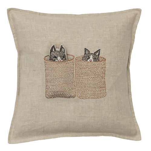 Basket Cats 12x12 Pocket Pillow, Natural Linen