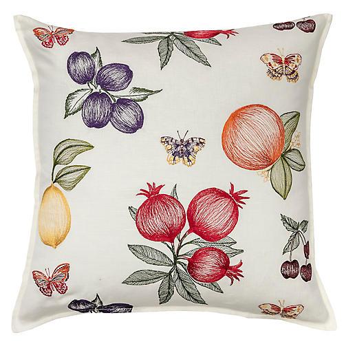 Fruits & Butterflies 20x20 Pillow, White Linen