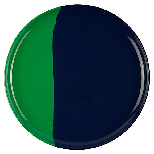 S/4 Melamine Dinner Plates, Green/Navy