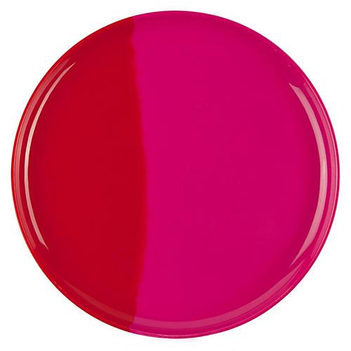 S/4 Melamine Side Plates, Fuchsia/Red