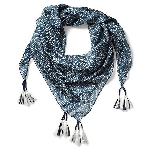 Milan Silk Scarf, Blue