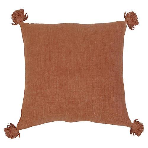 Montauk 20x20 Tassel Pillow, Terracotta Linen