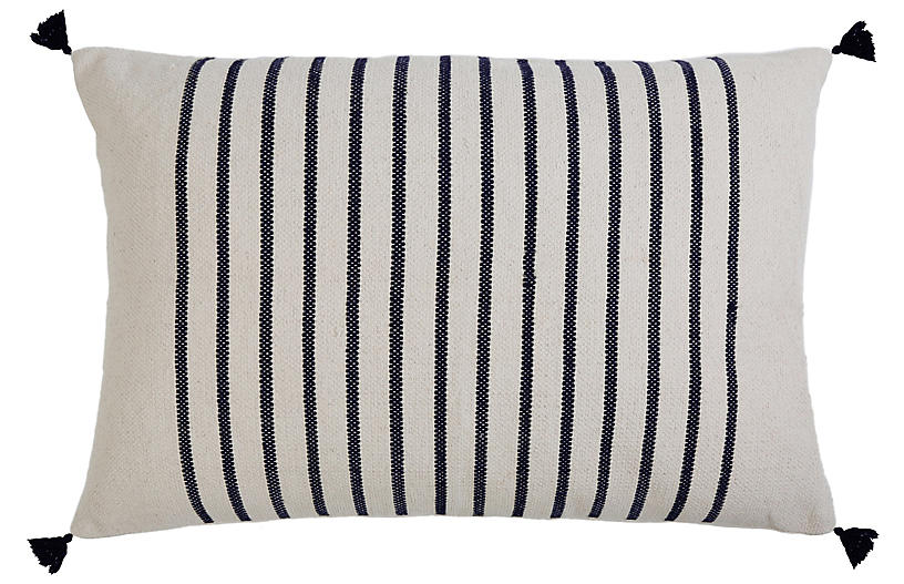 Morrison 28x36 Lumbar Pillow, Navy Stripe