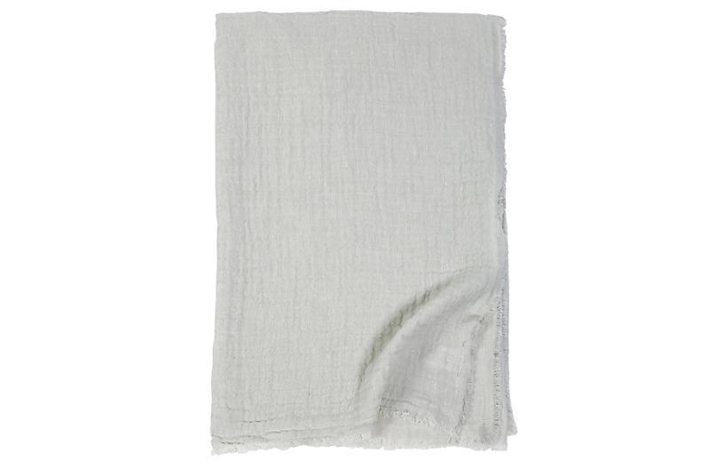 Hermosa Cotton Throw, Ocean/Cream
