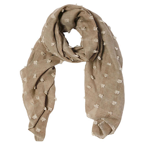 Poppy Polyester Scarf, Taupe