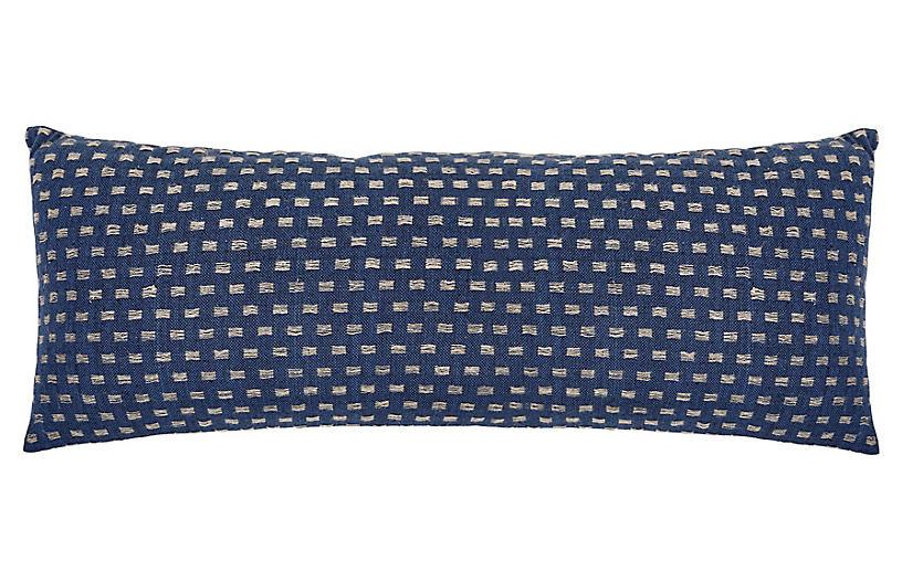 Decker 14x40 Lumbar Pillow, Navy/Natural Linen