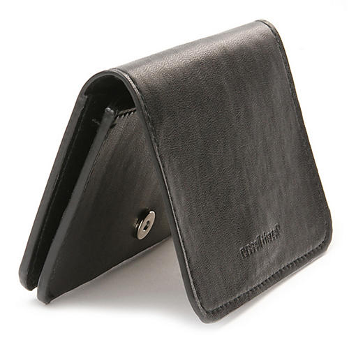 Faux-Leather Card Holder, Black