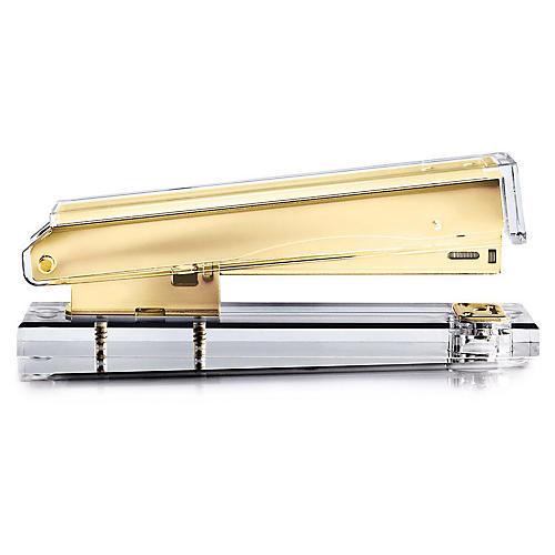 Acrylic Stapler, Clear/Gold