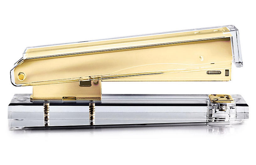 Acrylic Stapler, Clear/Gold