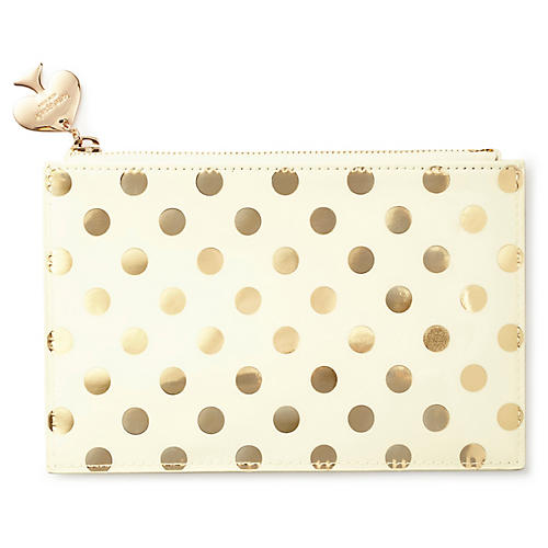Gold Dots Pencil Polyurethane Pouch, Cream/Gold