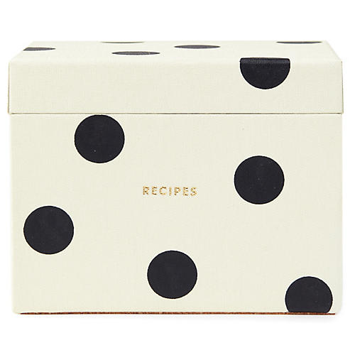 Deco Dot Recipe Box, Ivory/Black