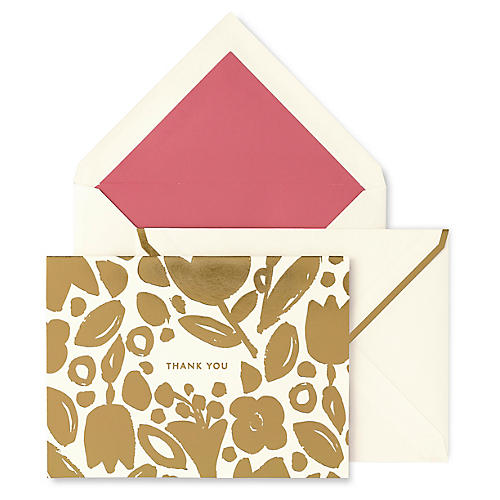 S/10 Golden Floral Thank You Cards