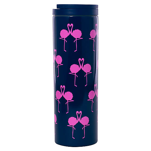 Flamingo Travel Mug, Navy/Pink