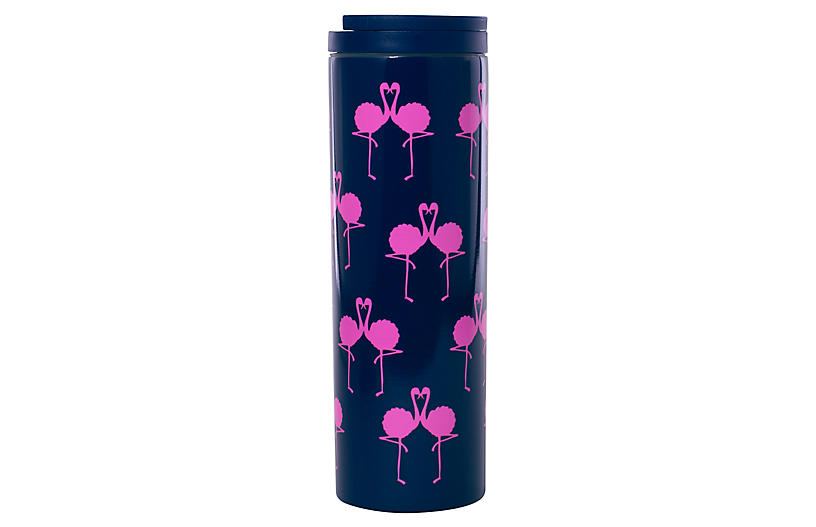 Flamingo Travel Mug, Navy/Pink