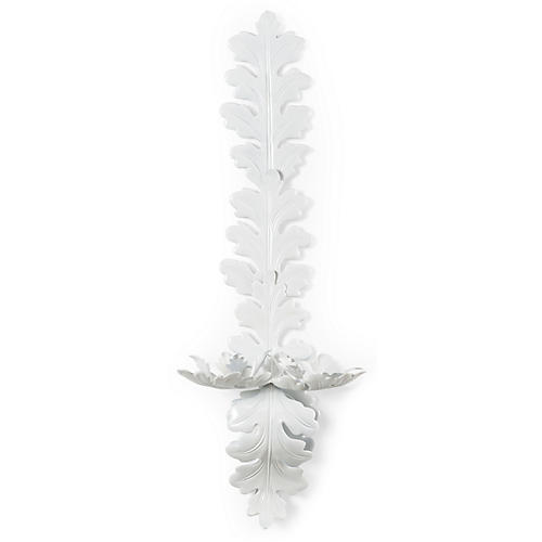 Oak Leaf Sconce, White