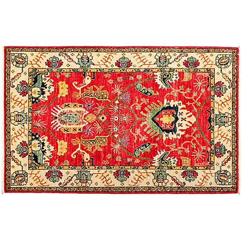 """4'x6'3"""" Eclectic Rug, Red"""