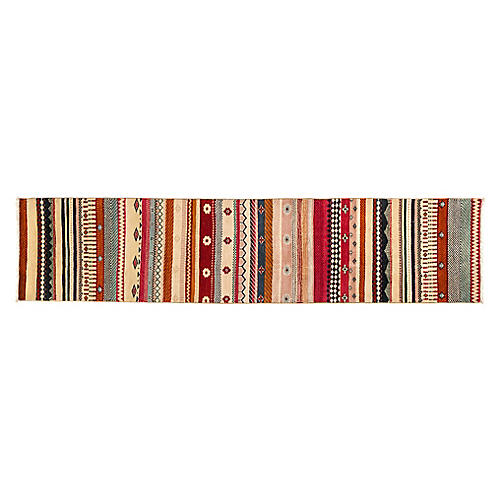 """2'10""""x8'10"""" Kinley Hand-Knotted Runner, Red/Multi"""