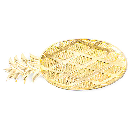 "17"" Pineapple Decorative Tray, Gold"