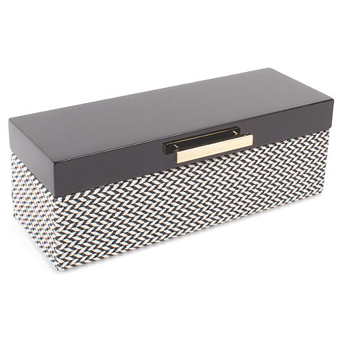 Chevron Jewelry Box, Black/White