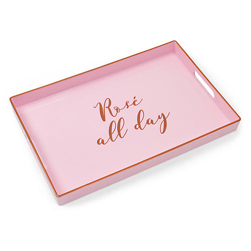"13"" Rosé All Day Decorative Tray, Pink/Gold"