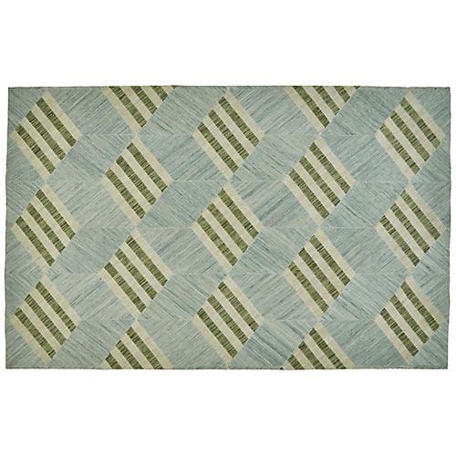 Surat Flat-Weave Outdoor Rug, Green/Blue