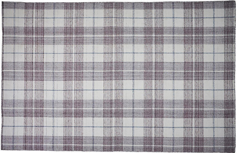 Bretton Plaid Outdoor Rug, Ivory/Gray