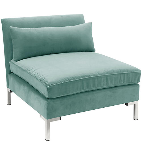 Marceau Slipper Chair, Aqua Velvet