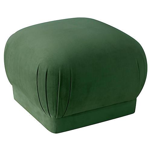 Benton Ottoman, Emerald Velvet