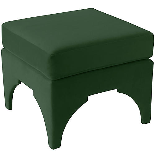 Maude Pillow-Top Ottoman, Emerald Velvet