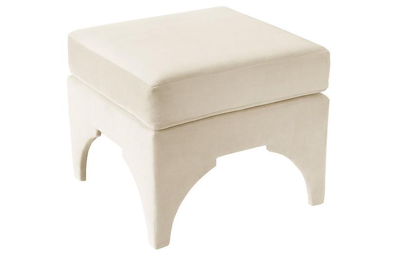 Maude Pillow-Top Ottoman, White Velvet
