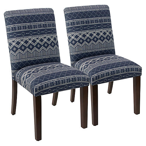 S/2 Shannon Uptown Side Chairs, Navy Linen