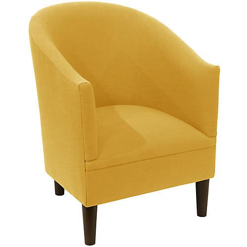 Ashlee Barrel Chair, Mustard Linen