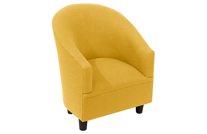 Ashlee Kids' Chair, Mustard Linen