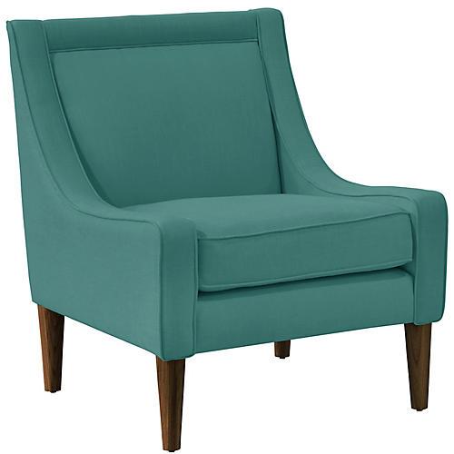 Scarlett Accent Chair, Teal Linen
