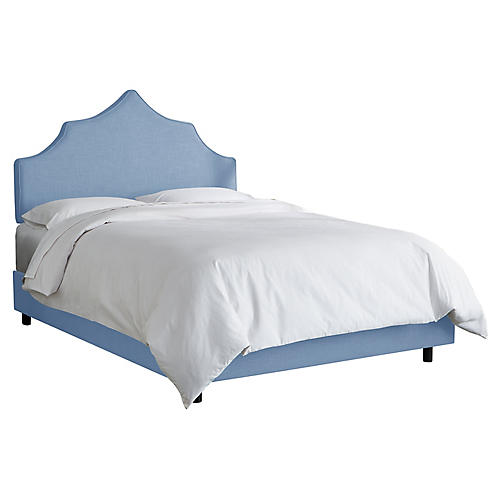 Camille Bed, French Blue Linen