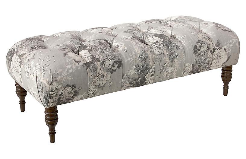 Stanton Tufted Bench, Platinum Floral Linen