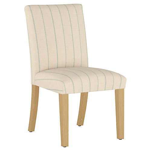Shannon Side Chair, Cream/Sky Stripe