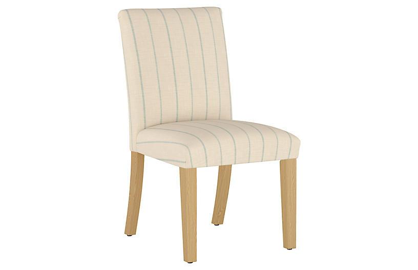 Shannon Side Chair, Cream/Sky Stripe