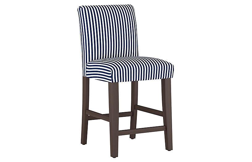 Shannon Counter Stool, Navy Stripe Linen