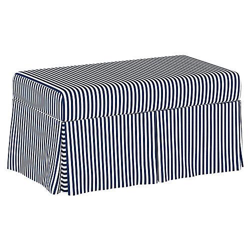 Hayworth Skirted Storage Bench, Navy Stripe Linen