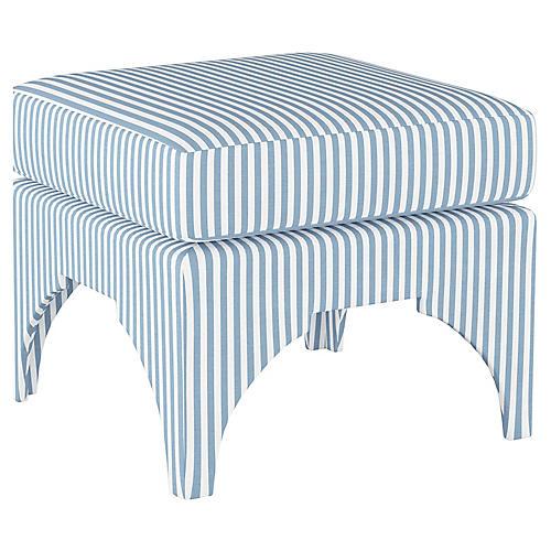Maude Pillow-Top Ottoman, Blue Stripe Linen